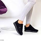 Стильные легкие черные замшевые женские кроссовки доступная цена, фото 3