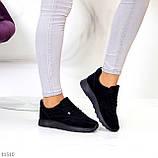 Стильные легкие черные замшевые женские кроссовки доступная цена, фото 4