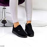 Стильные легкие черные замшевые женские кроссовки доступная цена, фото 5
