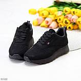Стильные легкие черные замшевые женские кроссовки доступная цена, фото 7