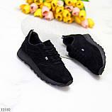 Стильные легкие черные замшевые женские кроссовки доступная цена, фото 9