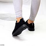 Стильные легкие черные замшевые женские кроссовки доступная цена, фото 10