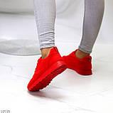 Стильні легкі яскраві червоні замшеві жіночі кросівки доступна ціна, фото 4
