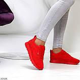 Стильні легкі яскраві червоні замшеві жіночі кросівки доступна ціна, фото 5