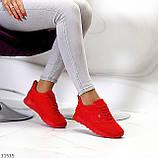 Стильні легкі яскраві червоні замшеві жіночі кросівки доступна ціна, фото 6