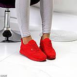 Стильні легкі яскраві червоні замшеві жіночі кросівки доступна ціна, фото 7