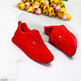 Стильні легкі яскраві червоні замшеві жіночі кросівки доступна ціна, фото 9