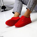 Стильні легкі яскраві червоні замшеві жіночі кросівки доступна ціна, фото 10