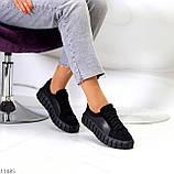 Миксовые чорні замшеві шкіряні жіночі кеди кріпери натуральна шкіра / замша 36-23,5 см, фото 5