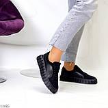 Миксовые чорні замшеві шкіряні жіночі кеди кріпери натуральна шкіра / замша 36-23,5 см, фото 7