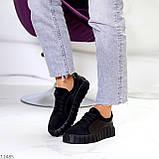 Миксовые чорні замшеві шкіряні жіночі кеди кріпери натуральна шкіра / замша 36-23,5 см, фото 9