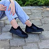 Миксовые черные кожаные замшевые женские кеды криперы натуральная кожа / замша, фото 2