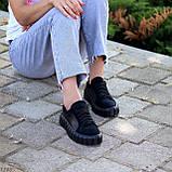Миксовые черные кожаные замшевые женские кеды криперы натуральная кожа / замша, фото 3