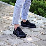 Миксовые черные кожаные замшевые женские кеды криперы натуральная кожа / замша, фото 4