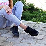 Миксовые черные кожаные замшевые женские кеды криперы натуральная кожа / замша, фото 5