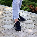 Миксовые черные кожаные замшевые женские кеды криперы натуральная кожа / замша, фото 6