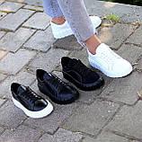 Миксовые черные кожаные замшевые женские кеды криперы натуральная кожа / замша, фото 8