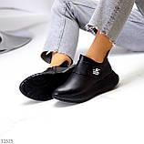 Модные кожаные черные женские полу спортивные женские ботинки натуральная кожа 38-25см, фото 3