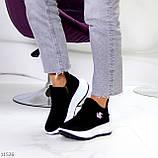 Замшевые черные женские полу спортивные женские ботинки замша на белой подошве 38-25см, фото 2