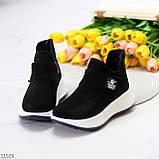 Замшевые черные женские полу спортивные женские ботинки замша на белой подошве 38-25см, фото 3