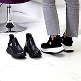 Замшевые черные женские полу спортивные женские ботинки замша на белой подошве 38-25см, фото 4