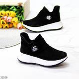 Замшевые черные женские полу спортивные женские ботинки замша на белой подошве 38-25см, фото 6