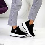 Замшевые черные женские полу спортивные женские ботинки замша на белой подошве 38-25см, фото 7