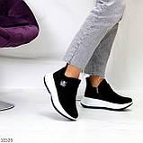 Замшевые черные женские полу спортивные женские ботинки замша на белой подошве 38-25см, фото 9