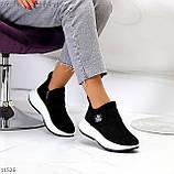 Замшевые черные женские полу спортивные женские ботинки замша на белой подошве 38-25см, фото 10