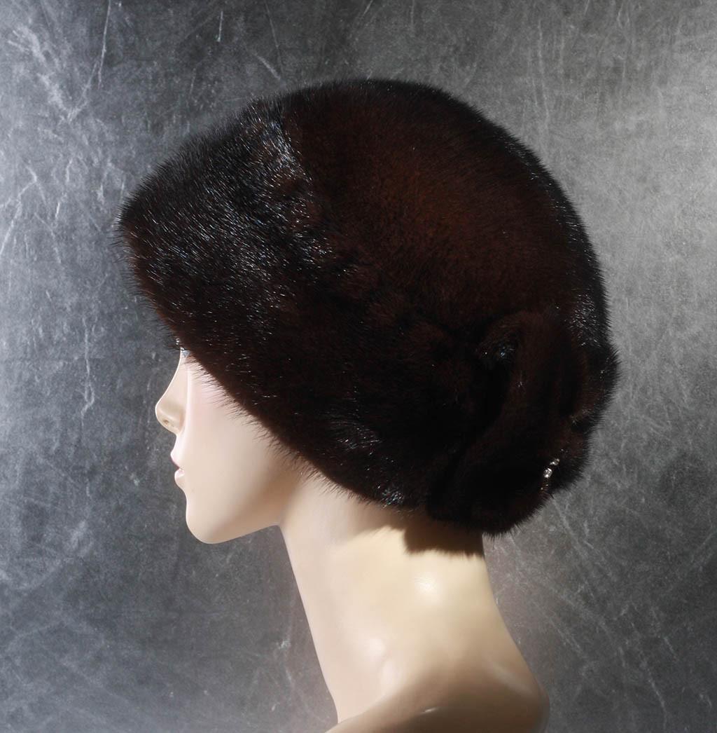Женская меховая шапка Бант из норки