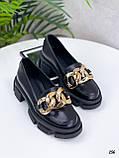 """Туфли -броги / лоферы женские черные  """"ЦЕПЬ"""" натуральная  кожа на тракторной подошве, фото 3"""