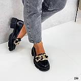 """Туфли -броги / лоферы женские черные  """"ЦЕПЬ"""" натуральная  кожа на тракторной подошве, фото 4"""