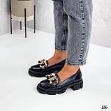"""Туфли -броги / лоферы женские черные  """"ЦЕПЬ"""" натуральная  кожа на тракторной подошве, фото 5"""