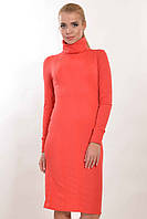 Женское теплое платье облегающее с воротником гольфик в расцветках.