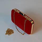 Красный велюровый клатч вечерний женский бокс выпускной праздничный элегантный красивый мини клатч на цепочке, фото 3