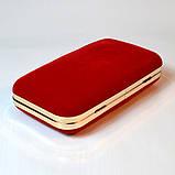 Красный велюровый клатч вечерний женский бокс выпускной праздничный элегантный красивый мини клатч на цепочке, фото 5