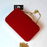 Красный велюровый клатч вечерний женский бокс выпускной праздничный элегантный красивый мини клатч на цепочке, фото 6