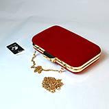 Красный велюровый клатч вечерний женский бокс выпускной праздничный элегантный красивый мини клатч на цепочке, фото 2