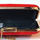 Красный велюровый клатч вечерний женский бокс выпускной праздничный элегантный красивый мини клатч на цепочке, фото 4