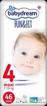 Подгузники Babydream Fun&Fit размер 4 Maxi (7-18 кг) 46шт.