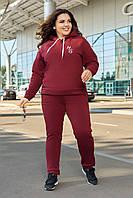 Стильний зручний жіночий спортивний прогулянковий костюм з декоративною вишивкою plus size, фото 1