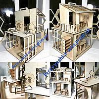 Кукольный детский домик с мебелью