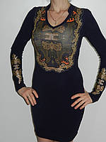 Красивое трикотажное платье с длинным рукавом и кружевом 2 цвета Treysi Турция рр. L