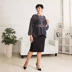 Женская Шифоновая Блуза с длинным рукавом черного цвета в горошек Саманта 48-56р
