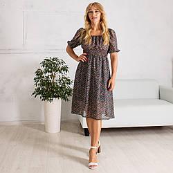 Молодежное Платье за колено черного цвета с коротким рукавом Мила 46-54р