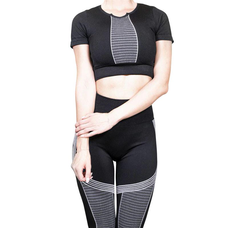 Комплект жіночий спортивний лосини і топ Lesko Jane The Queen 101 Black-Grey M. Жіночий комплект для фітнесу.