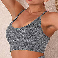 Спортивный топ для фитнеса Lesko 9187 Dark Grey размер S. Топ для йоги занятий спортом женский.