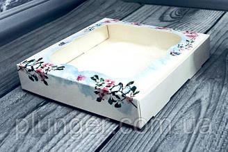 Коробка для печива, пряників з вікном, 15 см х 15 см х 3 см, мілований картон Гармонія