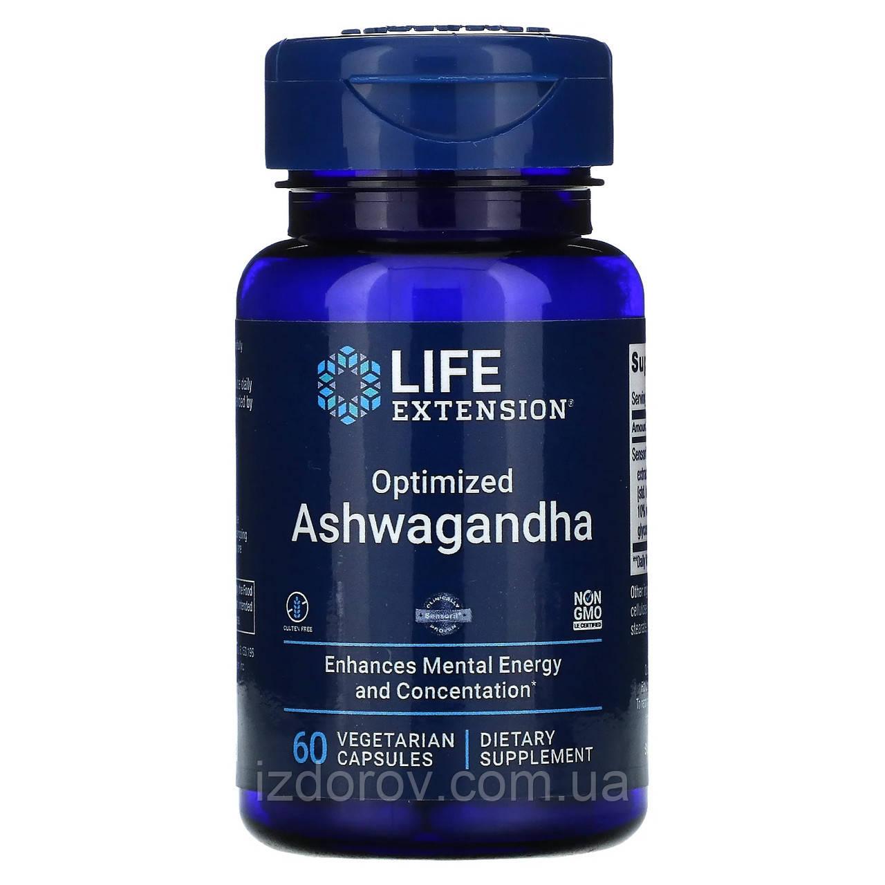 Life Extension, Ашваганда оптимизированный экстракт, Ashwagandha, 60 вегетарианских капсул