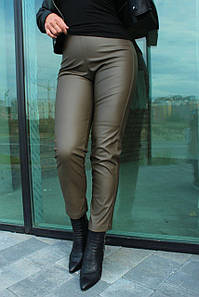 Брюки женские стильные модные с высокой посадкой из эко-кожи укороченные №952 цвет хаки